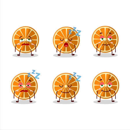 Cartoon character of new orange with sleepy expression