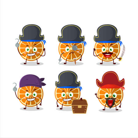 Cartoon character of new orange with various pirates emoticons