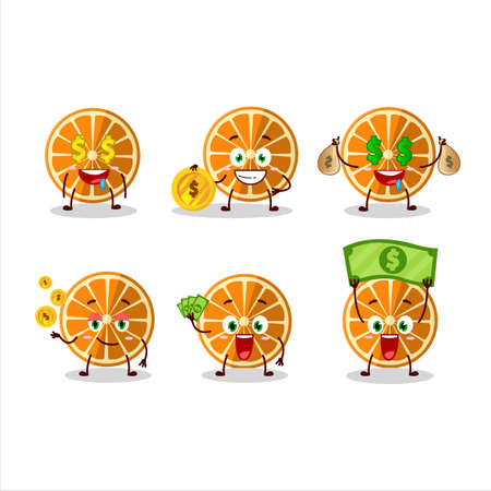 New orange cartoon character with cute emoticon bring money