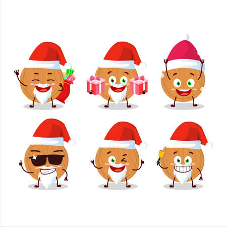 Santa Claus emoticons with circle wood cutting board cartoon character