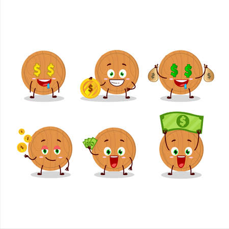 Circle wood cutting board cartoon character with cute emoticon bring money