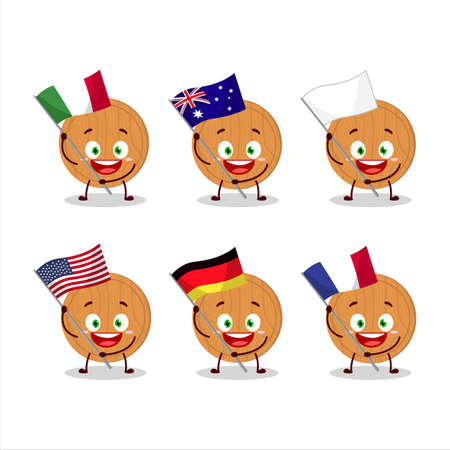 Circle wood cutting board cartoon character bring the flags of various countries 일러스트