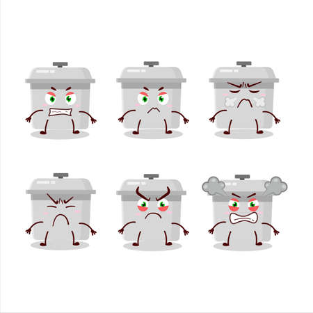 French oven cartoon character with various angry expressions. Vector illustration