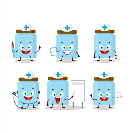 Doctor profession emoticon with jar cartoon character