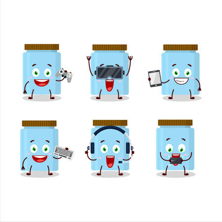 Jar cartoon character are playing games with various cute emoticons