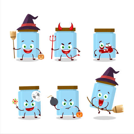 Halloween expression emoticons with cartoon character of jar
