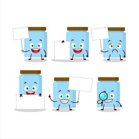 Jar cartoon in character bring information board
