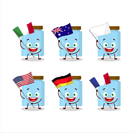 Jar cartoon character bring the flags of various countries
