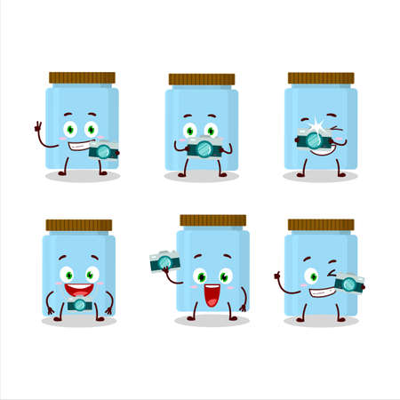 Photographer profession emoticon with jar cartoon character 向量圖像