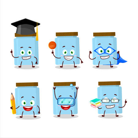 School student of jar cartoon character with various expressions