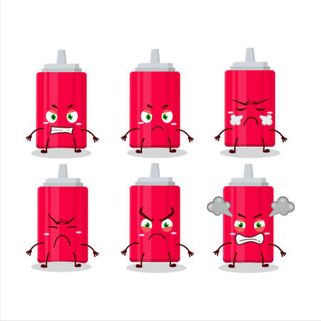 Ketchup bottle cartoon character with various angry expressions 向量圖像