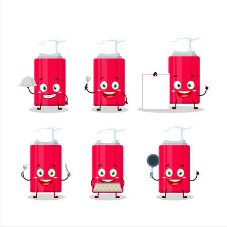 Cartoon character of ketchup bottle with various chef emoticons