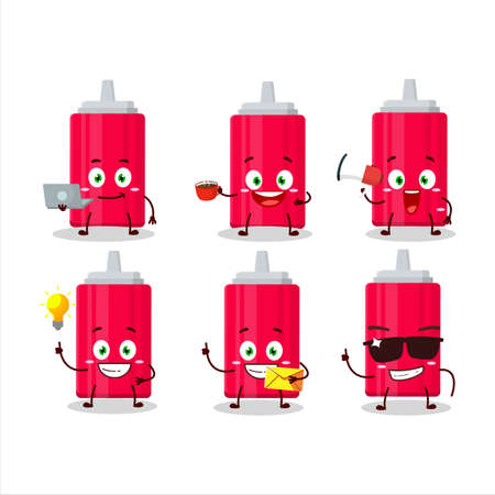 Ketchup bottle cartoon character with various types of business emoticons 向量圖像