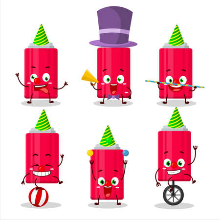 Cartoon character of ketchup bottle with various circus shows