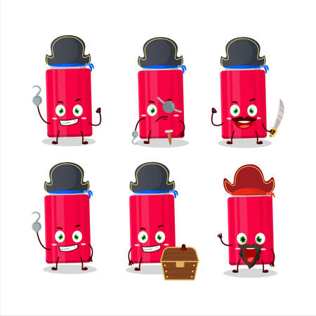 Cartoon character of ketchup bottle with various pirates emoticons