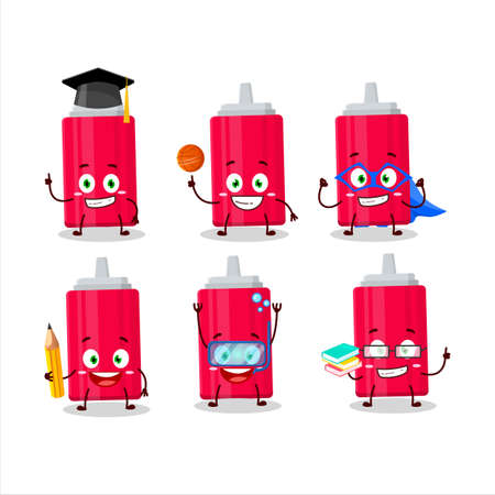 School student of ketchup bottle cartoon character with various expressions 矢量图像