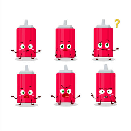 Cartoon character of ketchup bottle with what expression