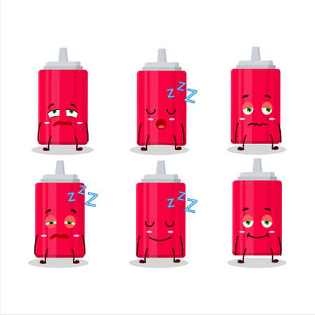 Cartoon character of ketchup bottle with sleepy expression