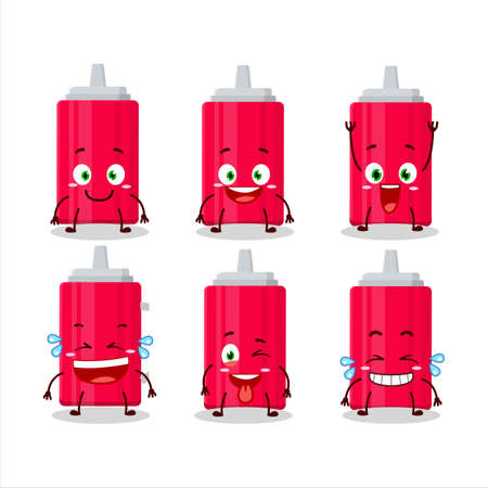 Cartoon character of ketchup bottle with smile expression