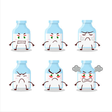 Milk bottle cartoon character with various angry expressions