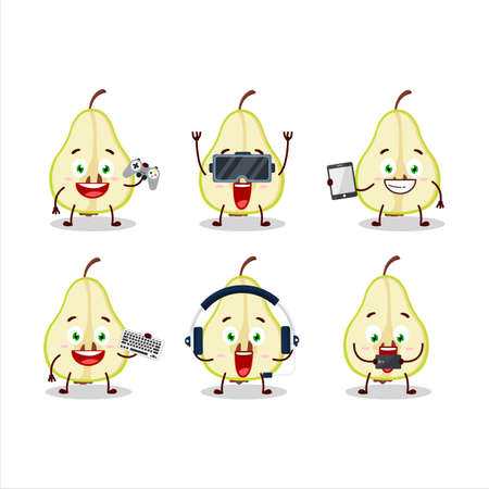 Slash of green pear cartoon character are playing games with various cute emoticons
