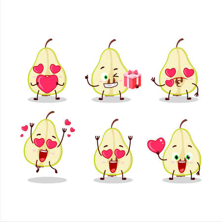 Slash of green pear cartoon character with love cute emoticon