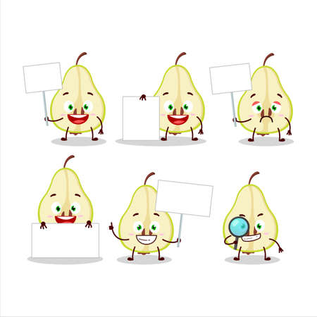 Slash of green pear cartoon character bring information board