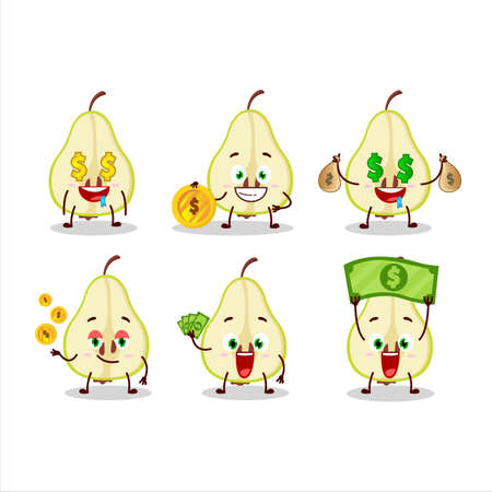 Slash of green pear cartoon character with cute emoticon bring money 일러스트