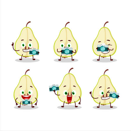 Photographer profession emoticon with slash of green pear cartoon character