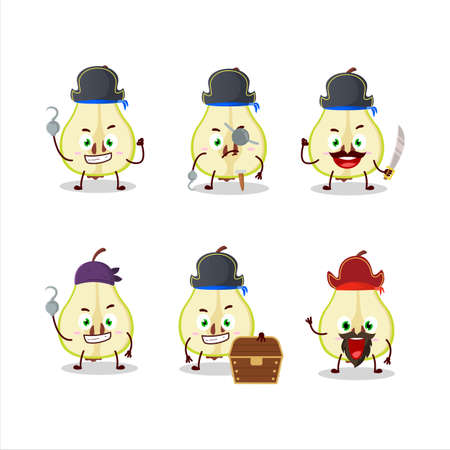 Cartoon character of slash of green pear with various pirates emoticons