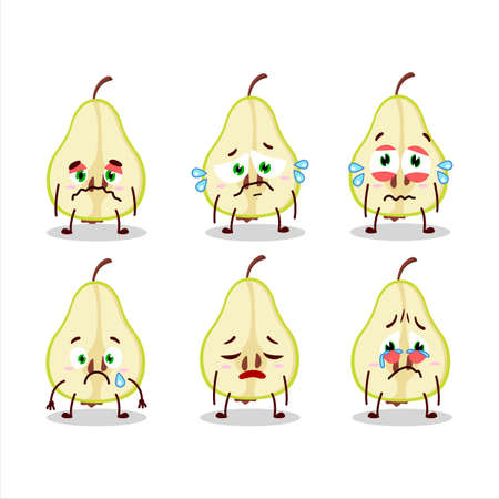 Slash of green pear cartoon character with sad expression