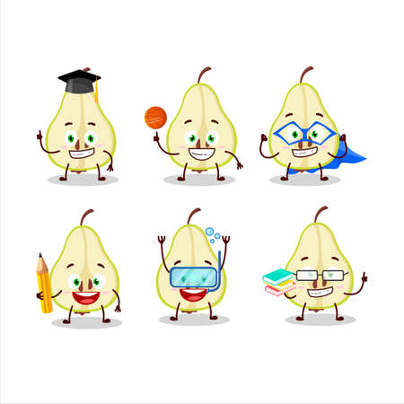 School student of slash of green pear cartoon character with various expressions