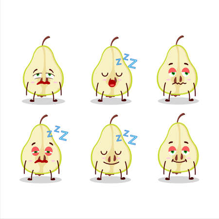 Cartoon character of slash of green pear with sleepy expression