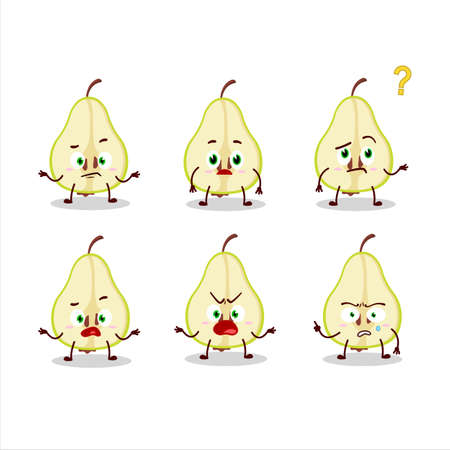 Cartoon character of slash of green pear with what expression