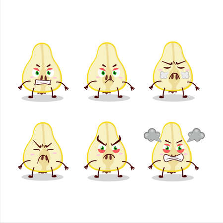 Slash of yellow pear cartoon character with various angry expressions