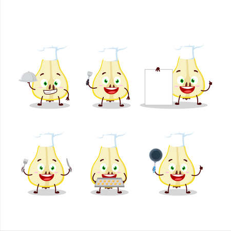Cartoon character of slash of yellow pear with various chef emoticons
