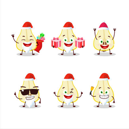 Santa Claus emoticons with slash of yellow pear cartoon character