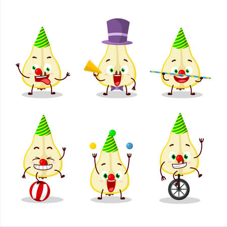 Cartoon character of slash of yellow pear with various circus shows