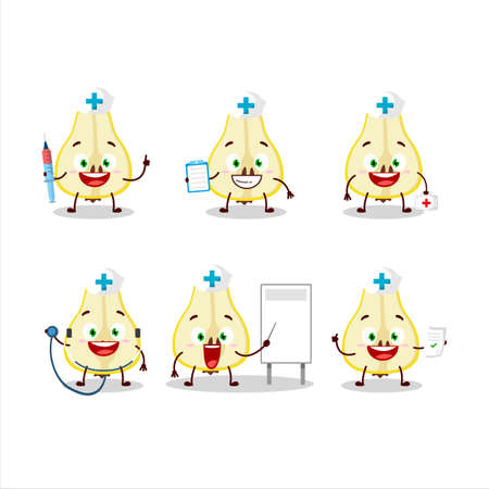 Doctor profession emoticon with slash of yellow pear cartoon character