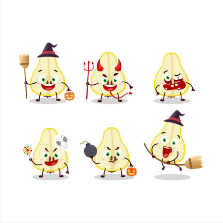 Halloween expression emoticons with cartoon character of slash of yellow pear