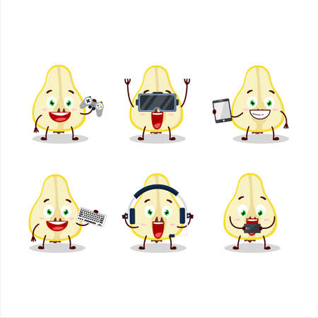 Slash of yellow pear cartoon character are playing games with various cute emoticons