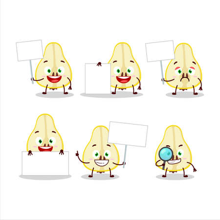 Slash of yellow pear cartoon character bring information board 일러스트