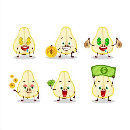 Slash of yellow pear cartoon character with cute emoticon bring money