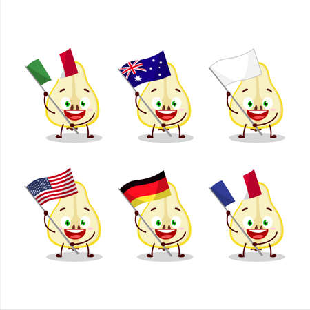 Slash of yellow pear cartoon character bring the flags of various countries