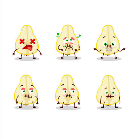 Slash of yellow pear cartoon character with nope expression 일러스트