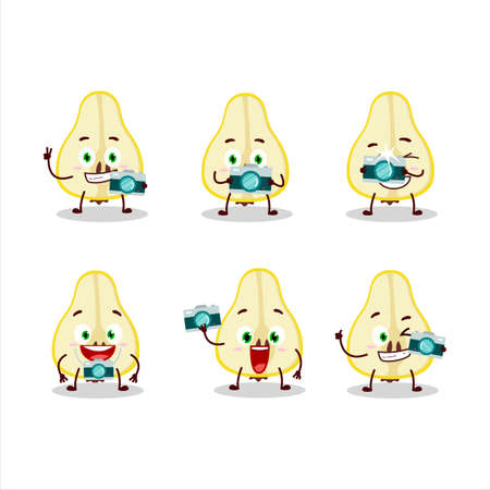 Photographer profession emoticon with slash of yellow pear cartoon character