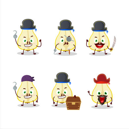 Cartoon character of slash of yellow pear with various pirates emoticons