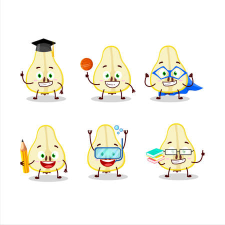 School student of slash of yellow pear cartoon character with various expressions