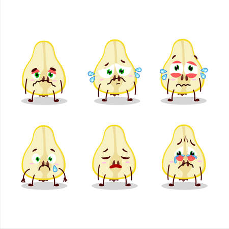 Slash of yellow pear cartoon character with sad expression