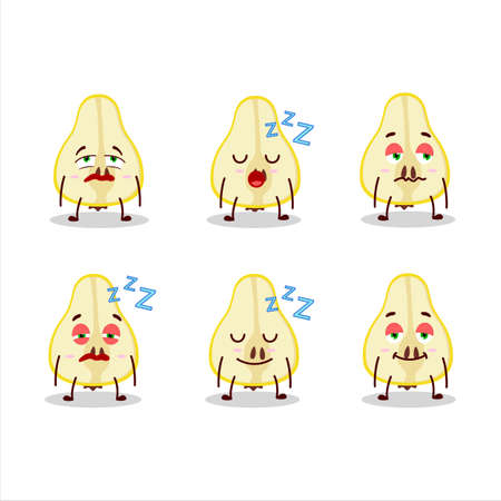 Cartoon character of slash of yellow pear with sleepy expression 일러스트
